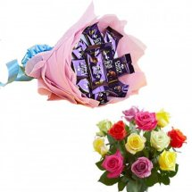 Cadbury dairy milk chocolates in a bouquet and 10 Mix roses bouquet