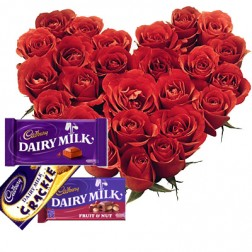 24 Red roses heart with 1 Crackel 2 Dairy Milk chocolates