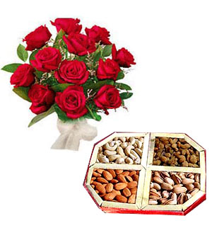 1/2 Kg Dryfruits + 12 Red roses