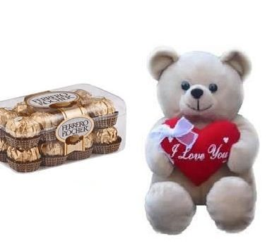 Box of 24 pieces Ferrero rochers with 6 inches teddy
