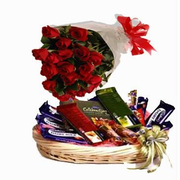 12 red roses with cadburys chocolates basket