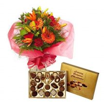 Chocolate Box with Mix flowers