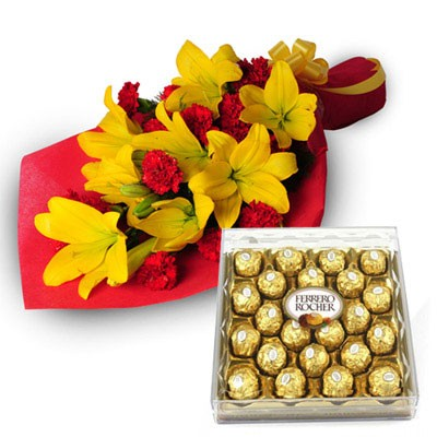 Yellow Lilies with 24 pieces Ferrero rocher chocolate box