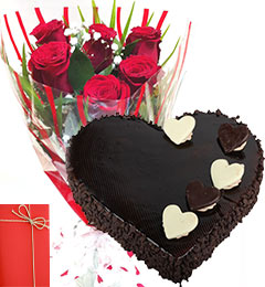 One Kg Heart Chocolate Cake Card with 6 Red Roses bouquet