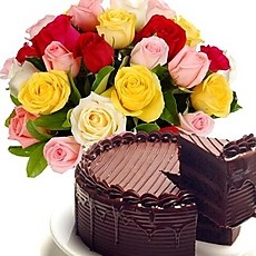 1/2 kg chocolate cake 8 assorted roses bouquet