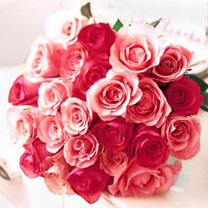 24 Pink and red roses bouquet