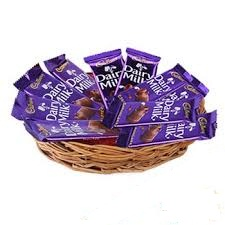Cadbury dairy milk chocolates in a basket