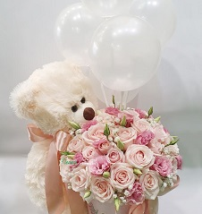 20 Pink and white roses pastel shades Bouquet Teddy 6 inches and 3 clear balloons on sticks