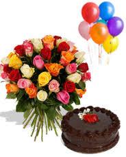 1 2 Kg Cake 6 Balloons 24 Flowers Basket