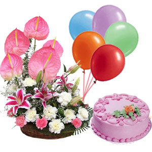 1/2 Kg Strawberry Cake+6 Balloons+24 pink anthuriums carnation Baske