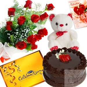 12 Red Roses Teddy Celebration chocolates and Half Kg chocolate cake