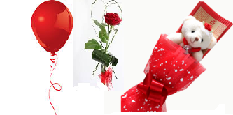 1 Red Air Blown balloon�1 red rose 6 inches Teddy bouquet