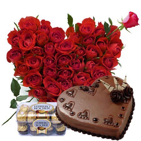 25 red Roses heart 1 Kg chocolate heart shaped Cake 16 pieces Ferrero chocolates