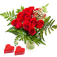 Two small hearts with bouquet of 12 Red roses