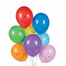 10 Air Filled Smiley Balloons