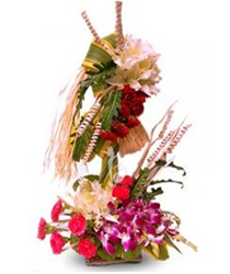 10 Orchids with 10 carnations in double basket