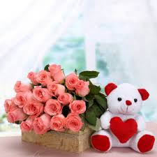 12 pink roses with Teddy bear 6 inches