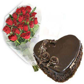 12 red Roses 1 Kg chocolate heart shaped Cake