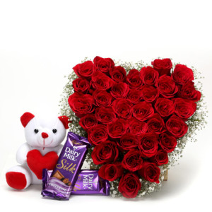 24 Red roses heart Teddy 6 inches and 2 bars small cadburys Silk