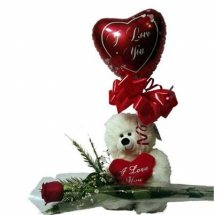 6 inches Teddy with Valentine heart 1 Red Rose and 1 Heart Balloon