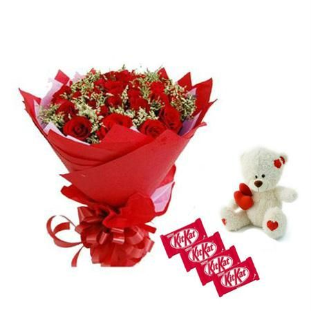 12 Red roses with 4 Kitkat chocolates and a 6 inches Teddy