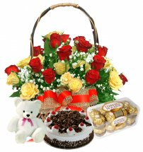 Box of 16 ferrero 24 red yellow roses basket 1/2 kg black forest teddy