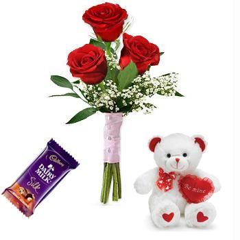 6 inches Teddy bear with 1 Silk Chocolate and 3 red Roses Bouquet