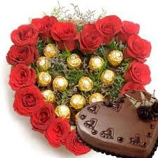 1 Kg Heart Chocolate Cake with heart of 24 red roses and 16 Ferrero
