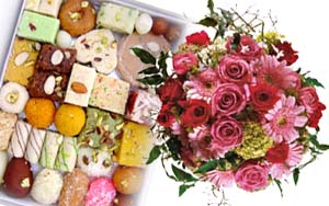 1 Kg Mix mithai+12 mix flowers
