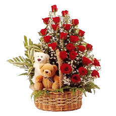 2 Teddies in the same Baket with 24 Red Roses