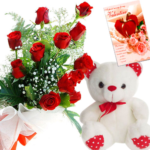 Teddy bear 6 inches Card and 12 red roses bouquet