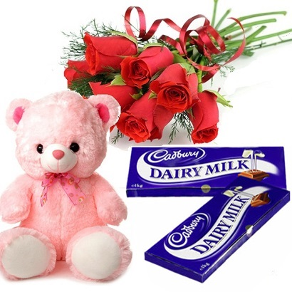 6 red roses with 6 inch Teddy and 2 Dairy Milk chocolates