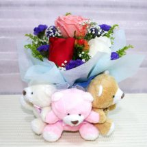 3 Teddies tied together with 3 roses (white Pink Red)in a bouquet
