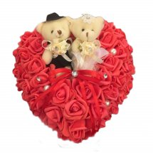 Two Teddy bears 6 inches with 24 Red roses heart arrangement