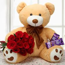 12 Inches Teddy bear with 6 red roses and 2 Silk chocolates