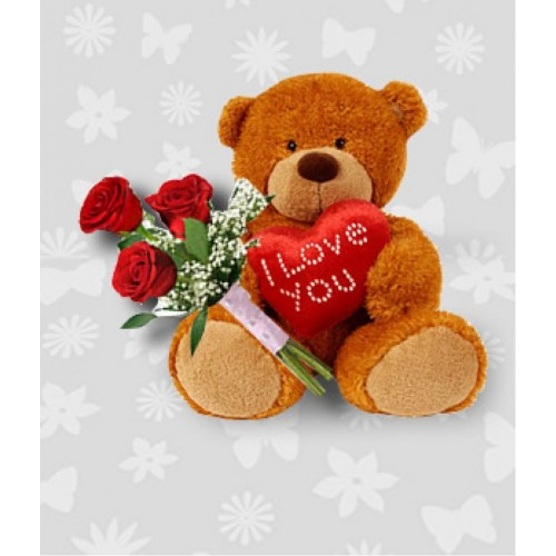 Teddy bear 12 inches with 3 Red roses and heart