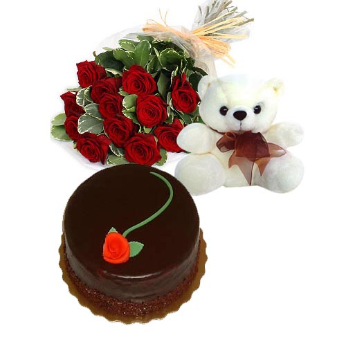 12 red Roses 1/2 Kg chocolate Cake Teddy 6 inches