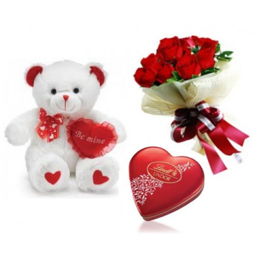 Bouquet of 12 Red roses Teddy 6 inches with small box Heart chocolates