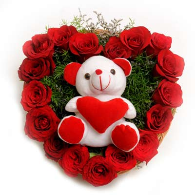 24 red roses heart with 6