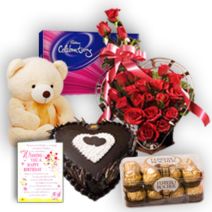 24 Red roses heart Teddy 6 inches Celebration pack 1 kg chocolate heart cake and 16 Ferrero