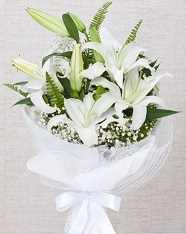 5 White Lily wrappred in white paper