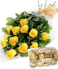 24 Yellow flowers bunch with 16 piece ferrero Rocher box